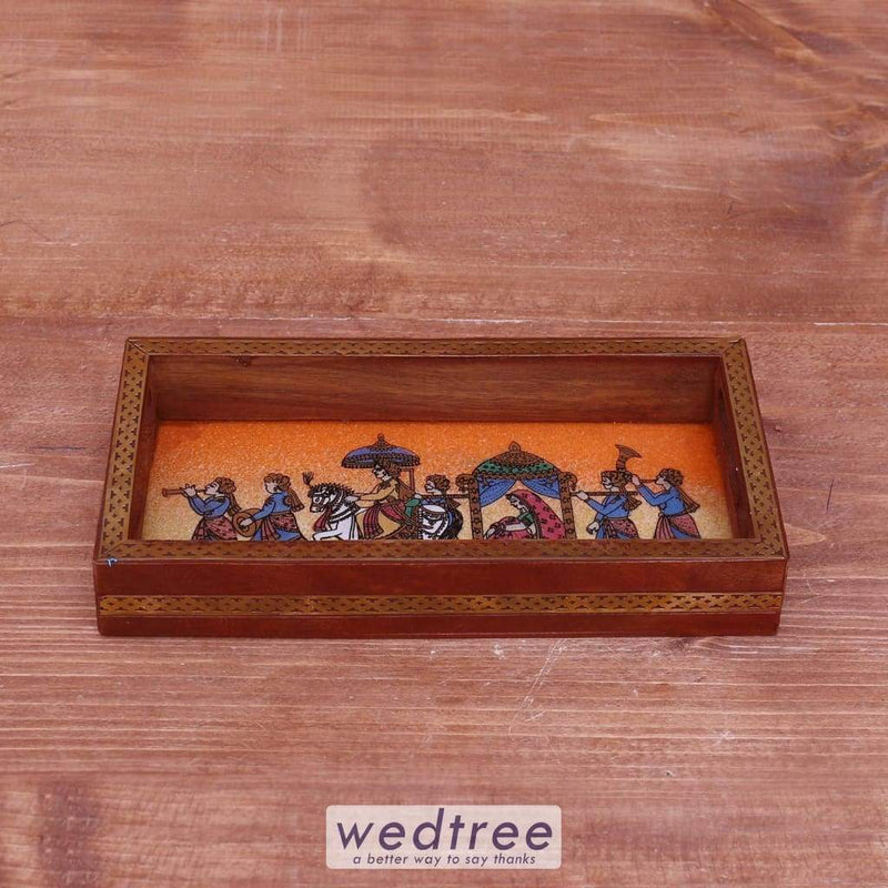Dark Wood Gemstone Painting Tray 8 X 4 Inch - W3938 Trays & Plates