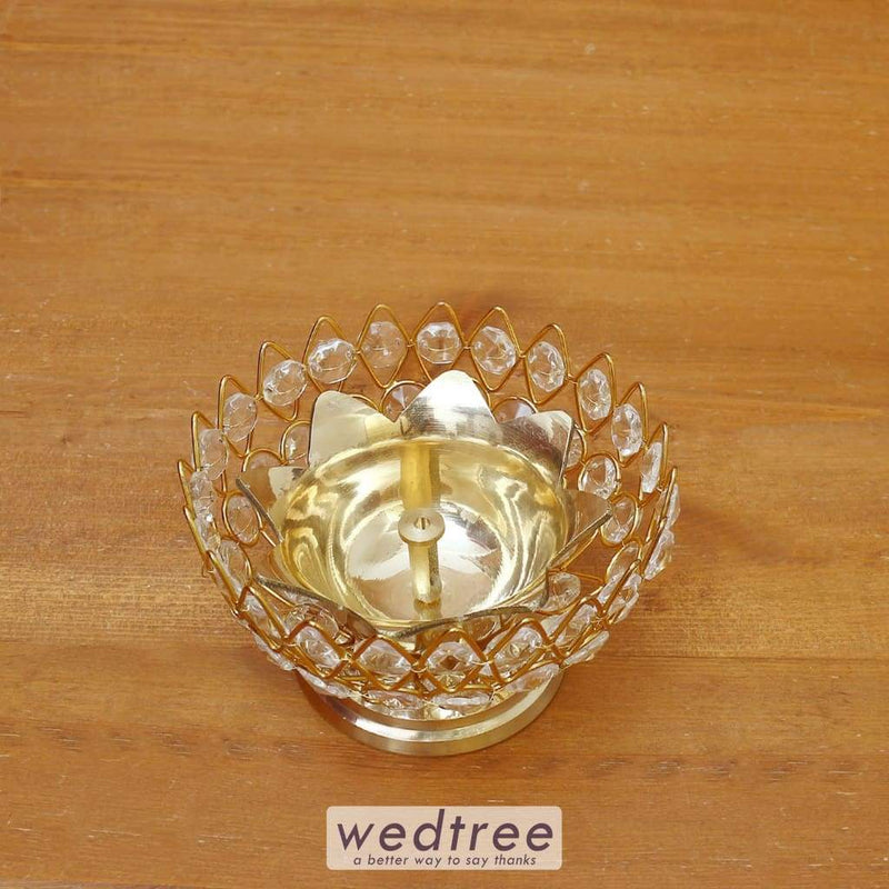 Decorative Bowl Shaped Crystal And Brass Flower Diya 4 Inch - W4102 Diyas & Candle Holders