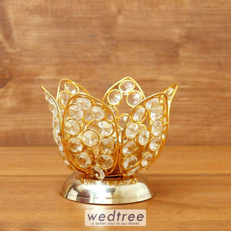 Decorative Lotus Shaped Crystal And Brass Diya 3.4 Inch - W4099 Diyas & Candle Holders