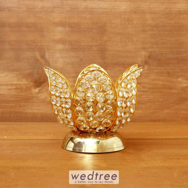 Decorative Lotus Shaped Crystal And Brass Diya 3.5 Inch - W4096 Diyas & Candle Holders