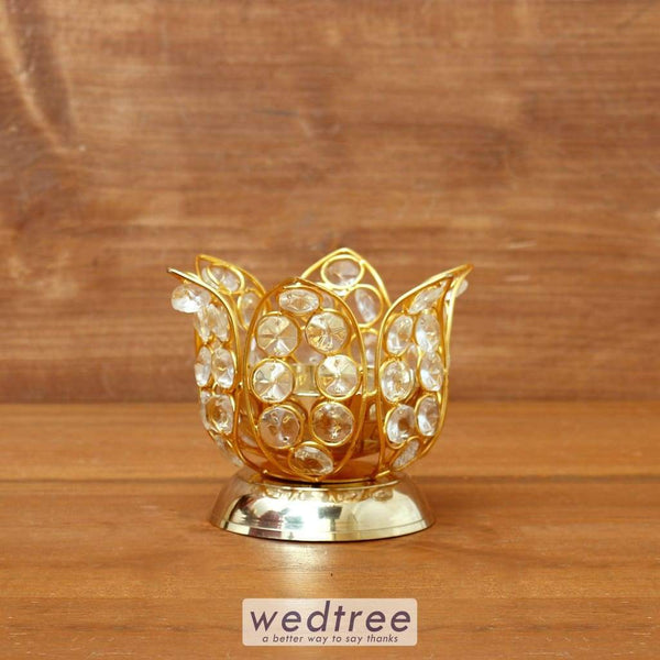 Decorative Lotus Shaped Crystal And Brass Diya 3 Inch - W4098 Diyas & Candle Holders