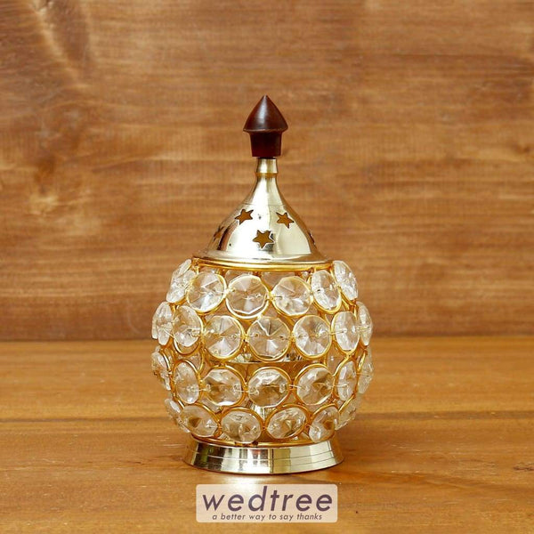 Decorative Matki Shaped Crystal And Brass Diya 1.4 Inch - W4114 Diyas & Candle Holders