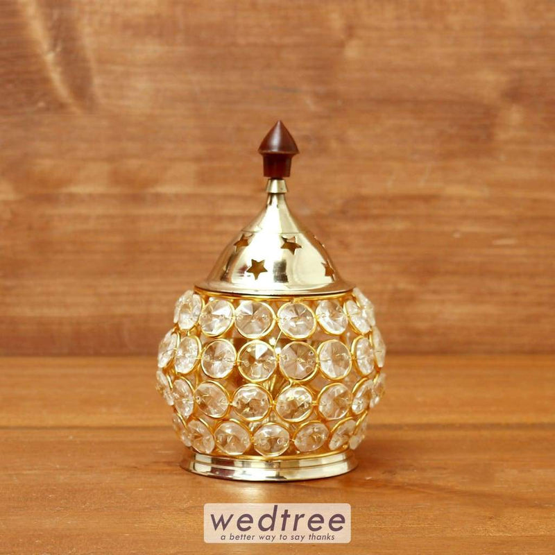 Decorative Matki Shaped Crystal And Brass Diya 2 Inch - W4115 Diyas & Candle Holders