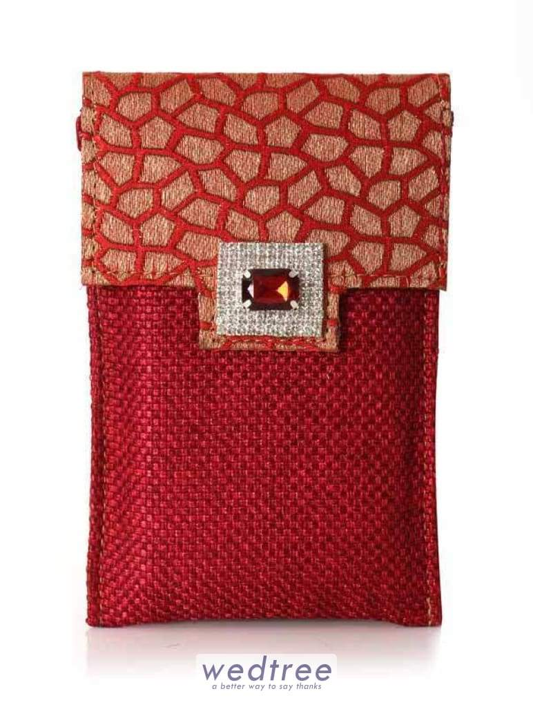Designer Mobile Holder With Jute And Motif Mobile Pouches