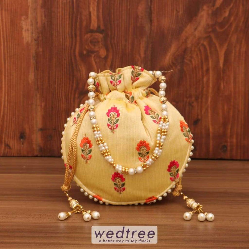 Designer Potli Bag - Flower Embroidery With Pearl Handle W3688 Bags