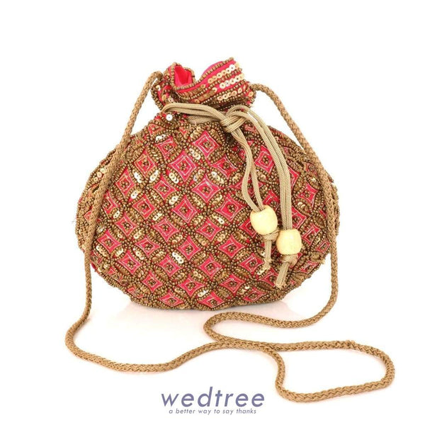 Designer Potli Bag With Chamki Beaded Work Bags