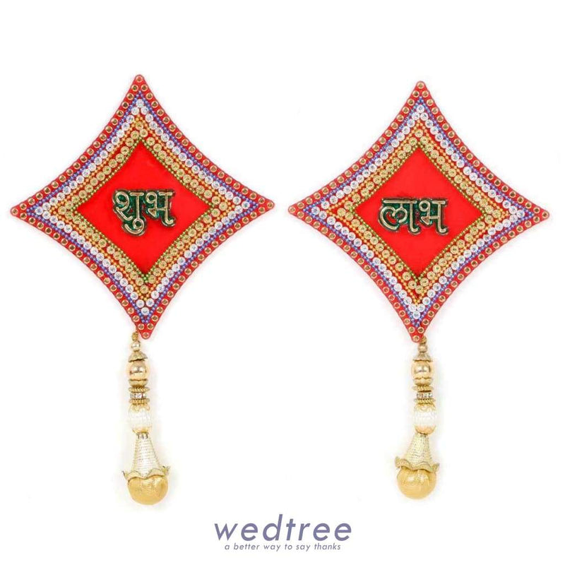 Diamond Shapped Shubh Labh-W2975 Home Decors