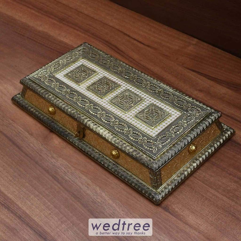 Dry Fruit Box German Oxidised With Three Partition W3423
