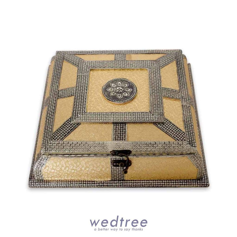 Dry Fruit Box - Golden Oxidised 10X10 Fruit Box
