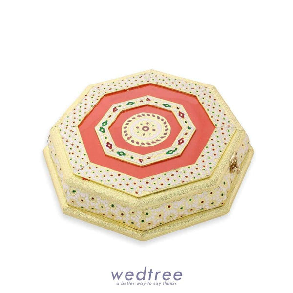 Dry Fruit Box Hexagon Shaped - White With Golden Minakari Work 9 Partitions Fruit Box