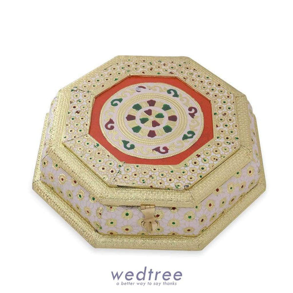 Dry Fruit Box Hexagon Shaped - White With Golden Minakari Work Fruit Box