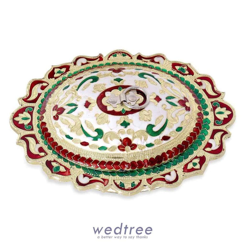Dry Fruit Box Minakari Oval Shaped Fruit Box