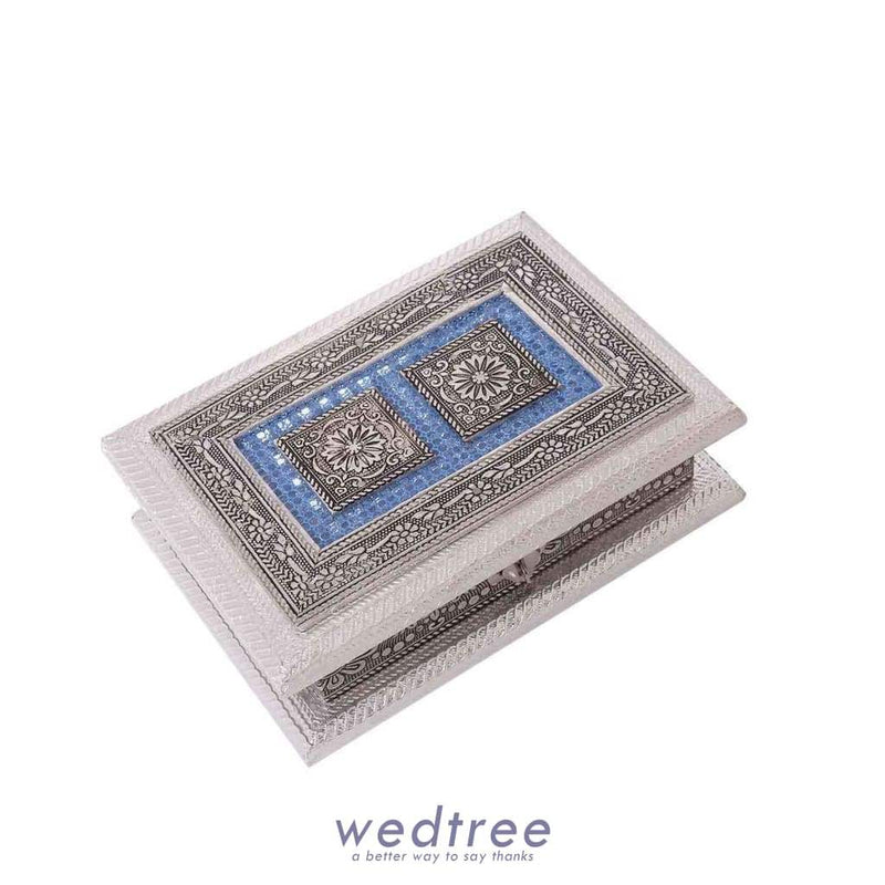 Dry Fruit Box - Oxidised In Rectangle Shaped 5X7 Inch