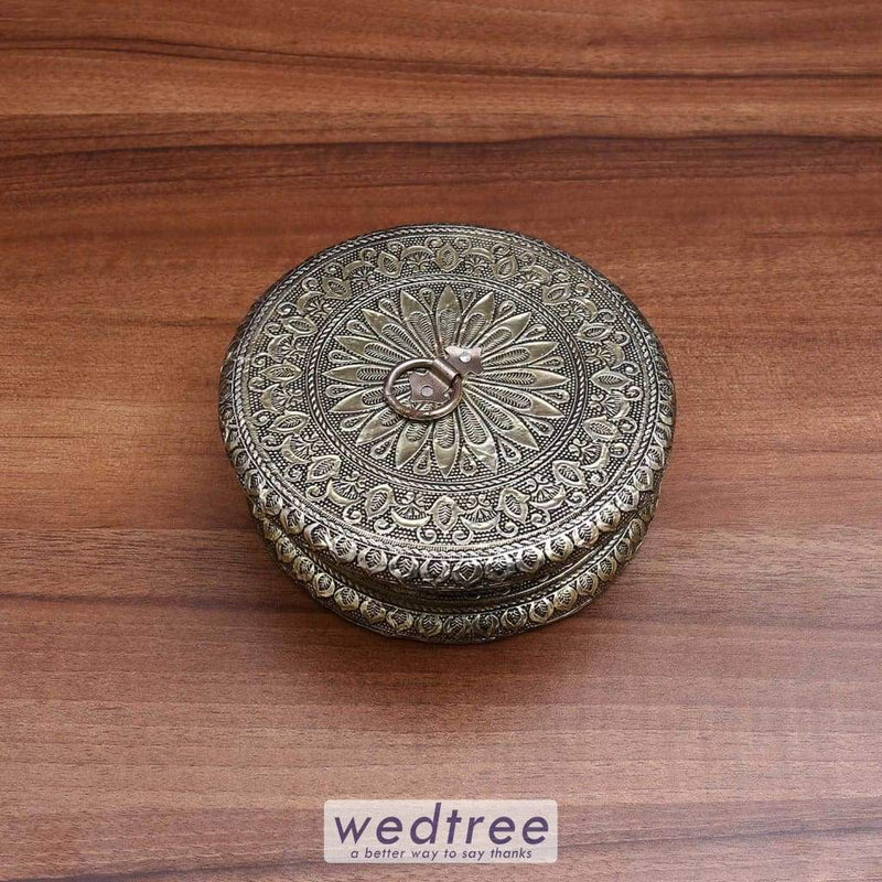 Dry Fruit Box Round Shape With Oxidised Finish W3424