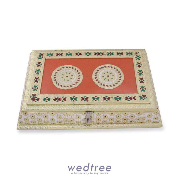 Dry Fruit Box White And Gold Minakari With Golden Flower Design Large Fruit Box
