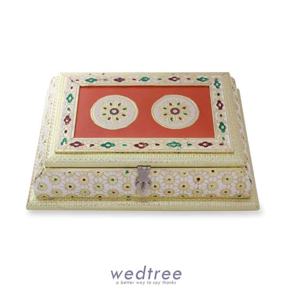Dry Fruit Box White And Gold Minakari With Golden Flower Design Fruit Box