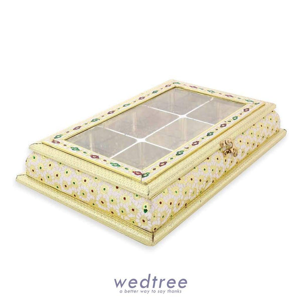 Dry Fruit Box - White With Golden Minakari Work 6 Partitions Fruit Box