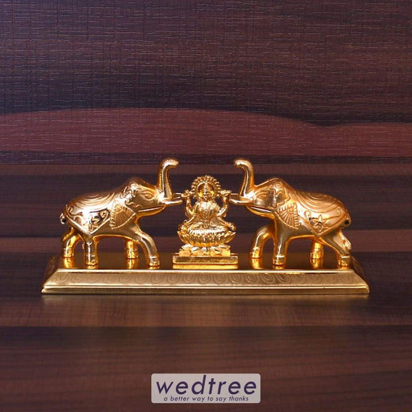 Elephant Double Kumkum Holder With Lakshmi - W4186 Kum Holders