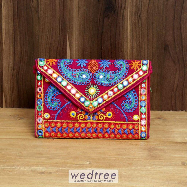 Embroidered Double Mango Sling Bag With Flap And Zipper - W4385 Sling Bags