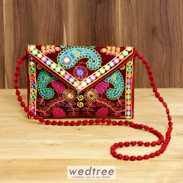 Embroidered Paisley Sling Bag With Flap And Zipper - W4384 Sling Bags