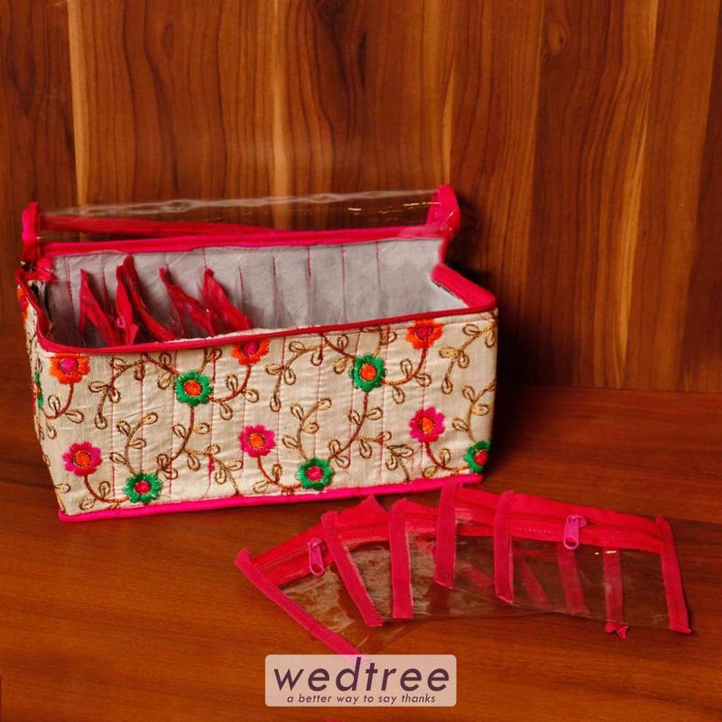 Embroidery Jewel Pouch With Twelve Partition - W4523 Jewellery Holder