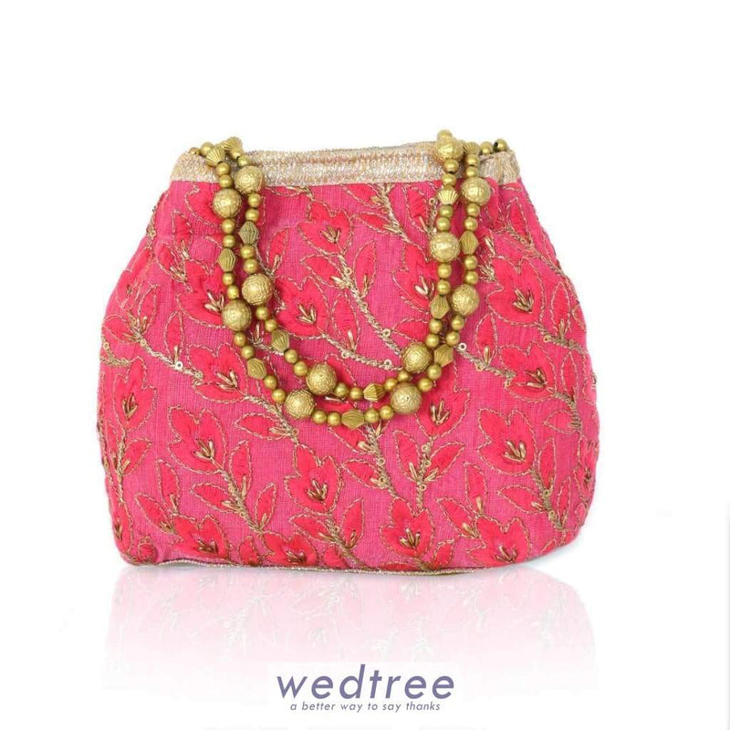Flower Embriodery Clutch With Beaded Handle Clutches & Purses