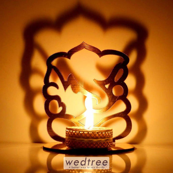 Ganesha Shadow Diya - Mdf Diyas & Candle Holders