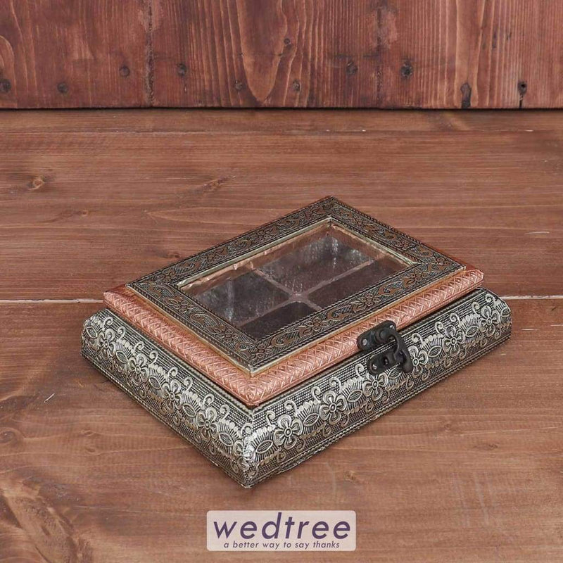 German Oxidised Transparent Dry Fruit Box 6 X 8 Inch - W3678 Dry Fruit Box