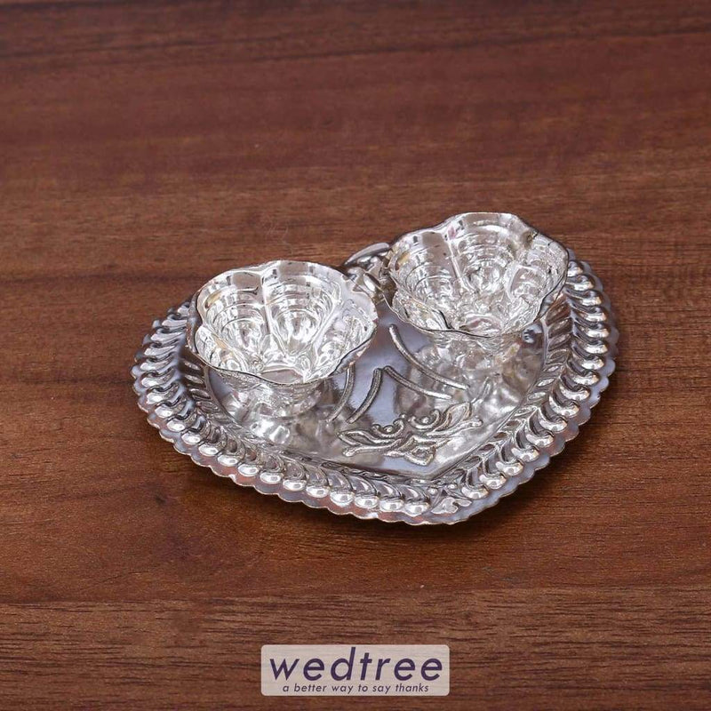German Silver Heart Shaped Kumkum Holder With 2 Cups - W3650 Kum Holders