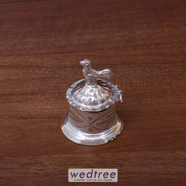German Silver Kumkum Holder With Lid - W2431 Kum Holders