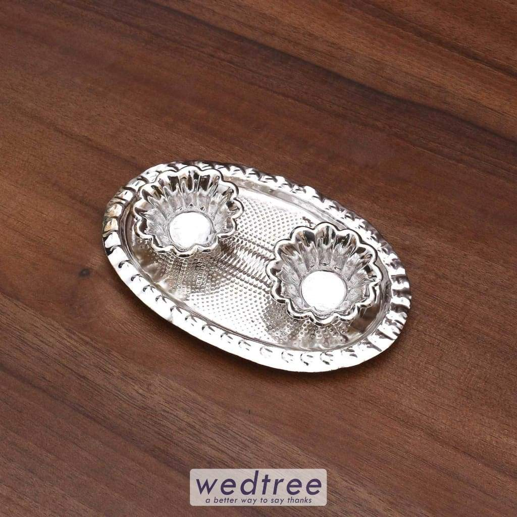 German Silver Plate With 2 Cups Large W2382 W2382 At Rs 1 72 Return Gifts By Wedtree