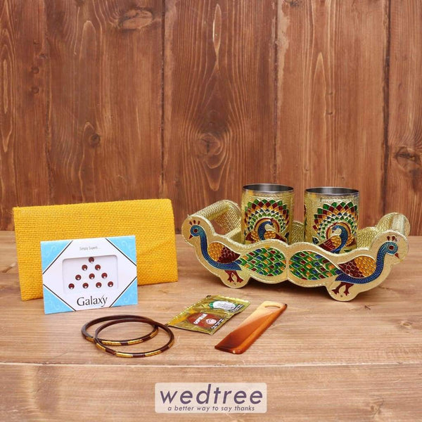 Gift Combo Jute Purse & Peacock Tray With 2 Glass - Wnc008