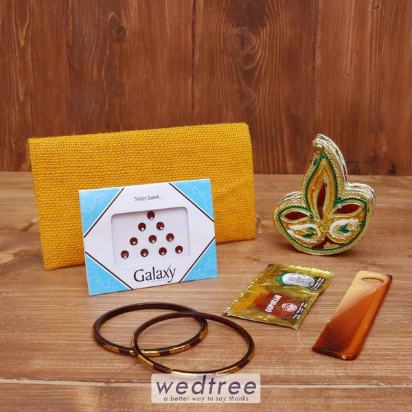 Gift Combo Jute Purse With Deepam Kumkum Holder - Wnc016