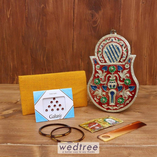 Gift Combo Jute Purse With Lock Shape Key Hanger - Wnc035