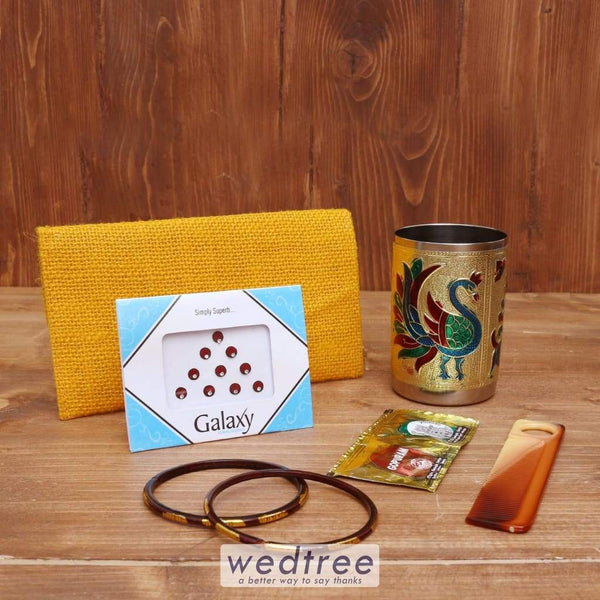 Gift Combo Jute Purse With Minakari Glass - Wnc024