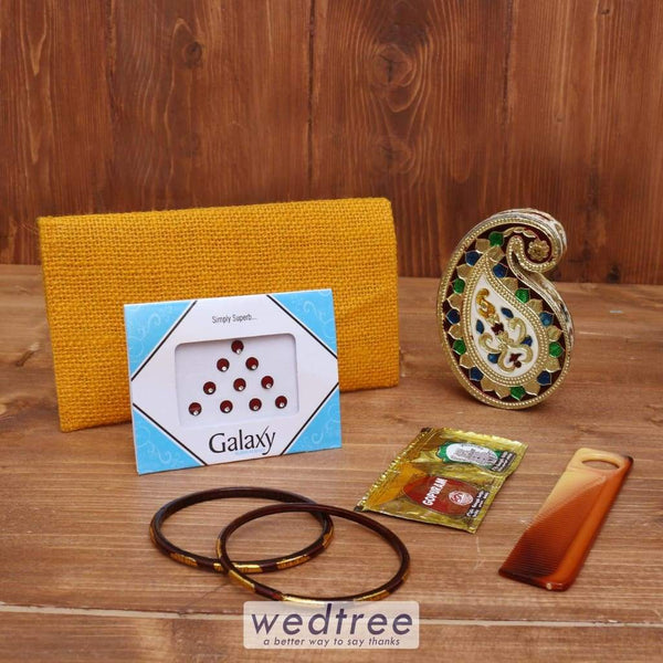 Gift Combo Jute Purse With Minakari Kumkum Holder Mango Design - Wnc018