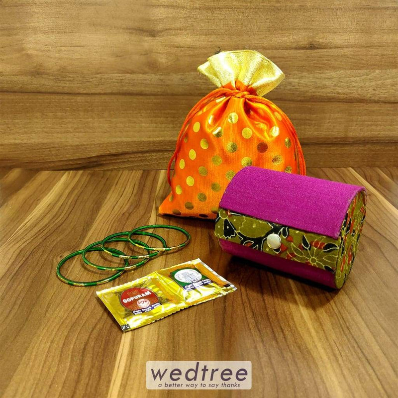 Gift Combo String Bag Polka Dots With Kalamkari Bangle Holder 2 Partition Combo