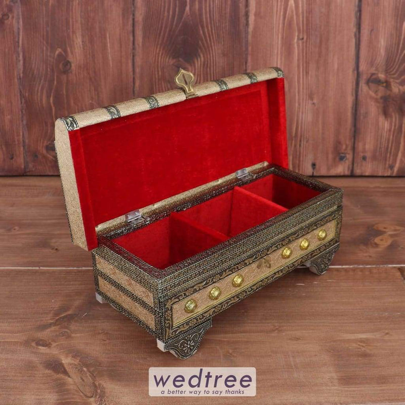Golden German Oxidised Jewel Box Large - W3176 Jewellery Holder