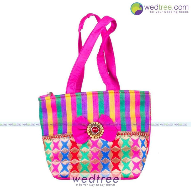 Hand Bag - Colouful Stripes With Bow Medium Bags