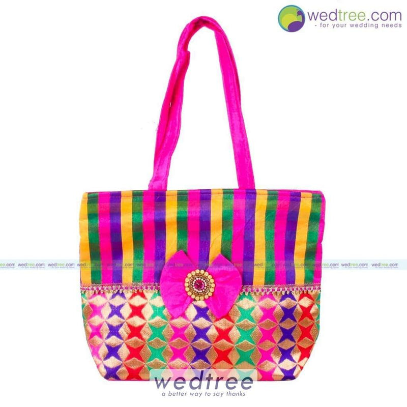 Hand Bag - Colourful Stripes With Bow Bags