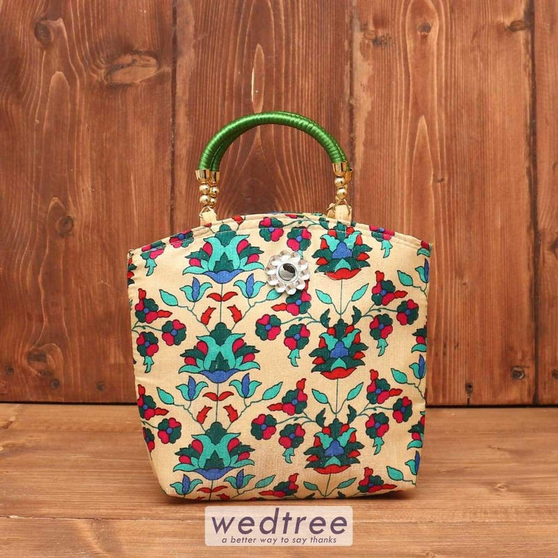 Hand Bag - Flower Print With Motif W3645 Bags
