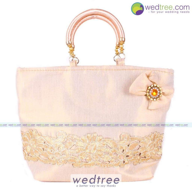 Hand Bag - Golden Emroidery With Bow Bags