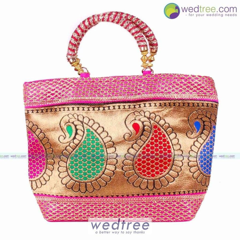 Hand Bag - Golden Mango Design With Thread Handle Bags
