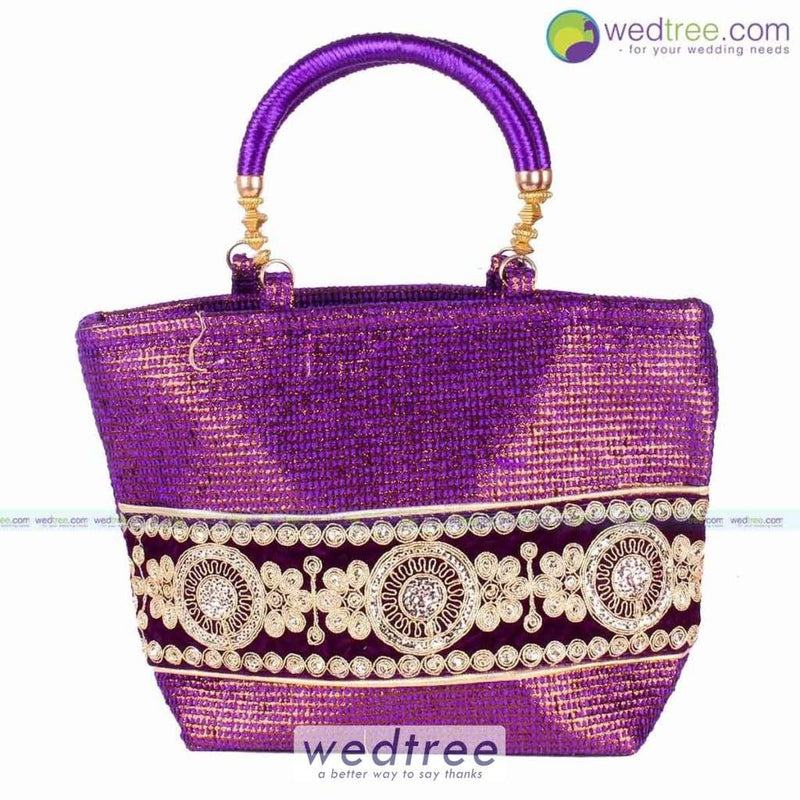 Hand Bag - Jute With Rich Gold Embroidary Bags