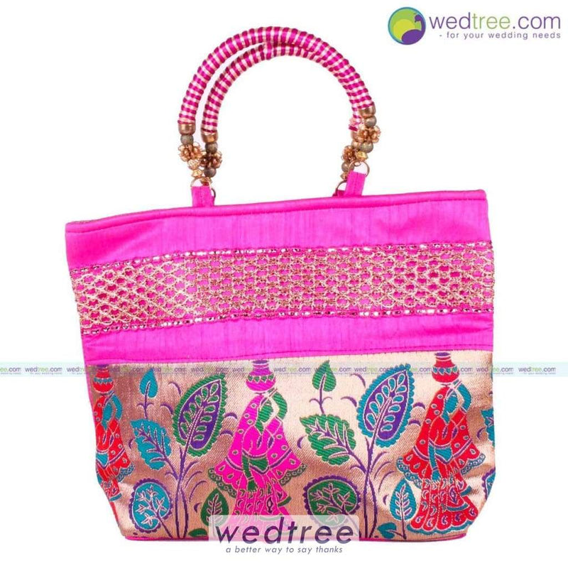 Hand Bag - Lady With Pot Design And Gold Zari Bags