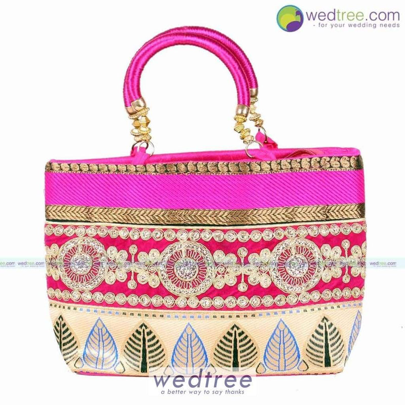 Hand Bag - Leaf Design With Gold Embroidery Bags
