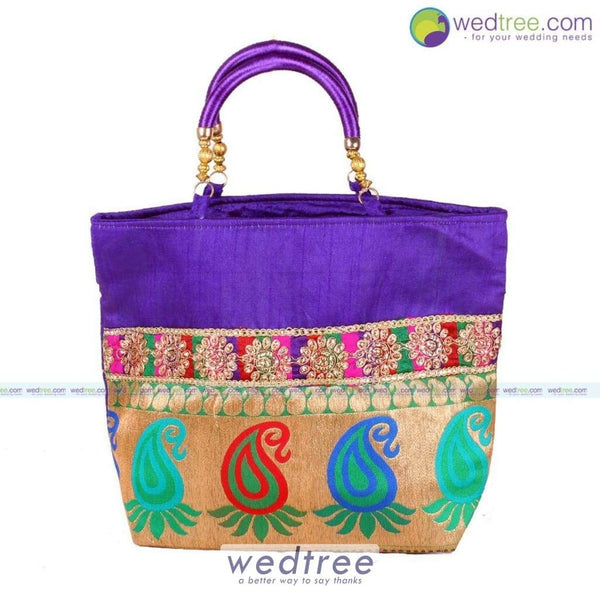 Hand Bag - Mango Design With Golden Flower Embroidery Bags