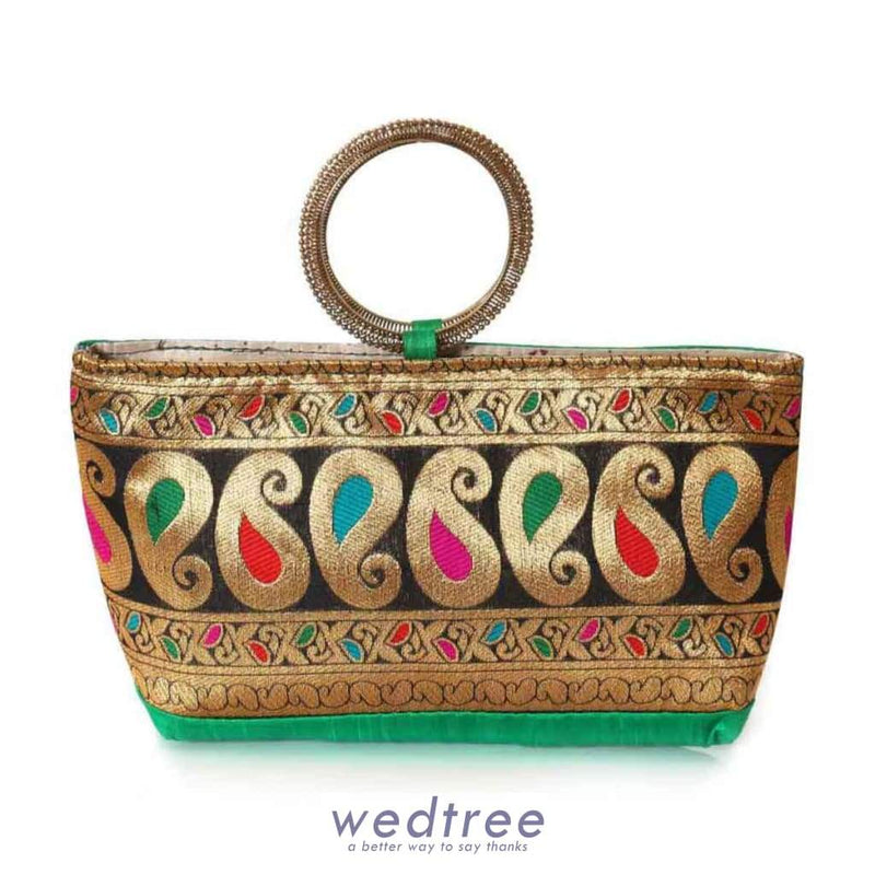 Hand Bag - Mixed Design With Bangle Type Handle Bags