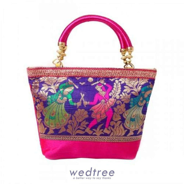 Hand Bag Raw Silk And Dandiya Prints With Golden Lace Medium Bags