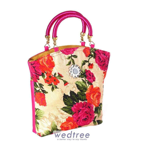 Hand Bag Raw Silk And Satin Floral Design Bags